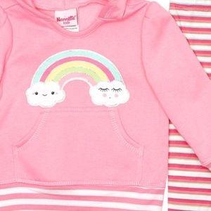 Nannette Matching Sets - Nannette Rainbow Sherpa Hoodie & Stripe Leggings